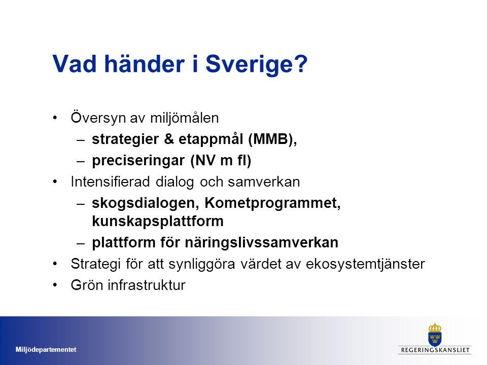 Miljödepartementet Vad händer i Sverige? Översyn av miljömålen –strategier & etappmål (MMB), –preciseringar (NV m fl) Intensifierad dialog och samverk
