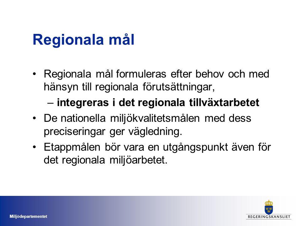 Miljödepartementet Regionala mål Regionala mål formuleras efter behov och med hänsyn till regionala förutsättningar, –integreras i det regionala tillv
