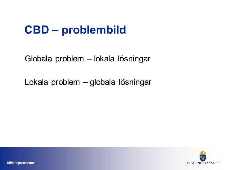 Miljödepartementet CBD – problembild Globala problem – lokala lösningar Lokala problem – globala lösningar