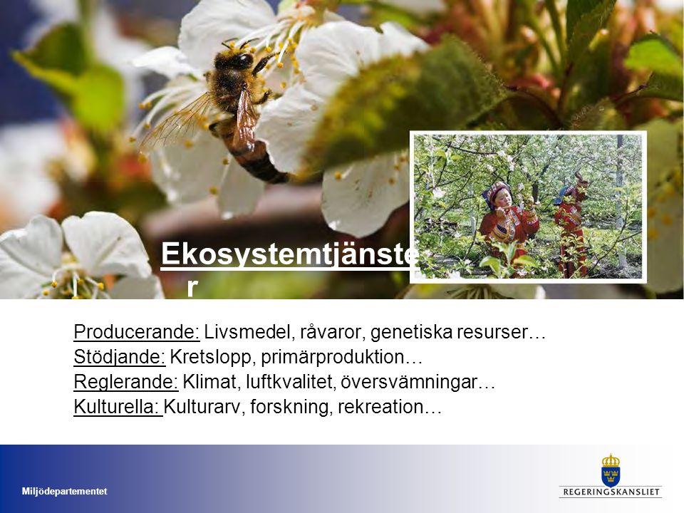 Miljödepartementet Producerande: Livsmedel, råvaror, genetiska resurser… Stödjande: Kretslopp, primärproduktion… Reglerande: Klimat, luftkvalitet, öve