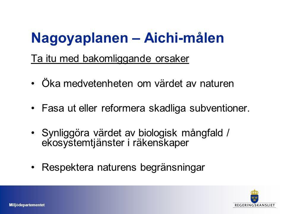 Miljödepartementet Nagoyaplanen – Aichi-målen Ta itu med bakomliggande orsaker Öka medvetenheten om värdet av naturen Fasa ut eller reformera skadliga