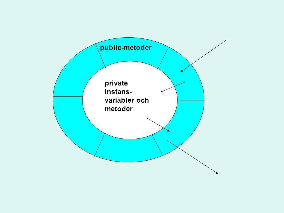 public-metoder private instans- variabler och metoder