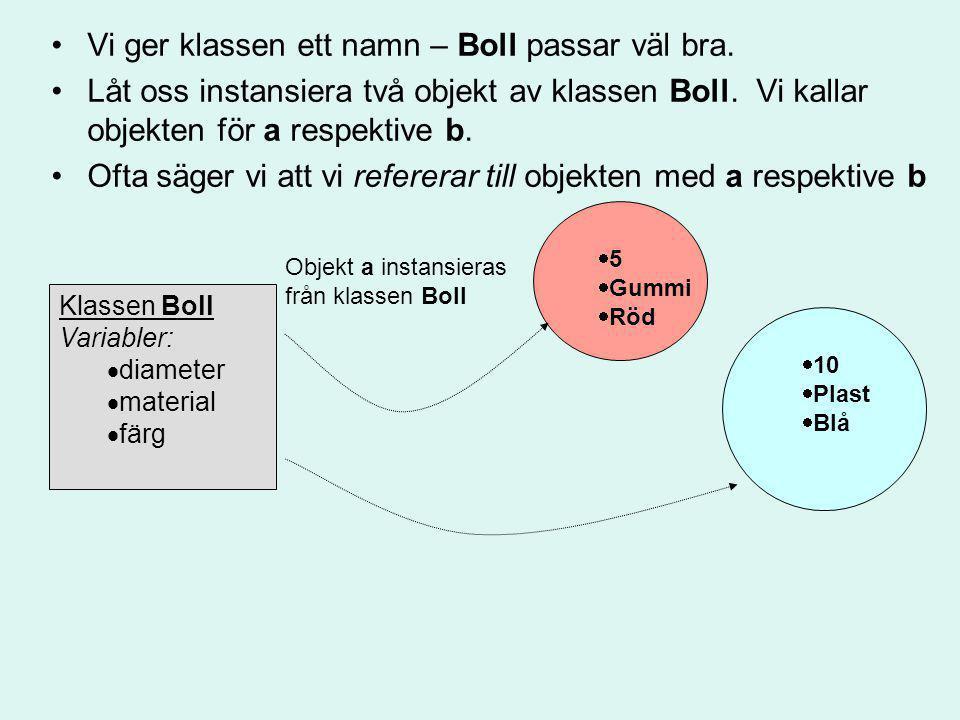 // ett javaprogram class SkapaBoll {...main() { new Boll();...