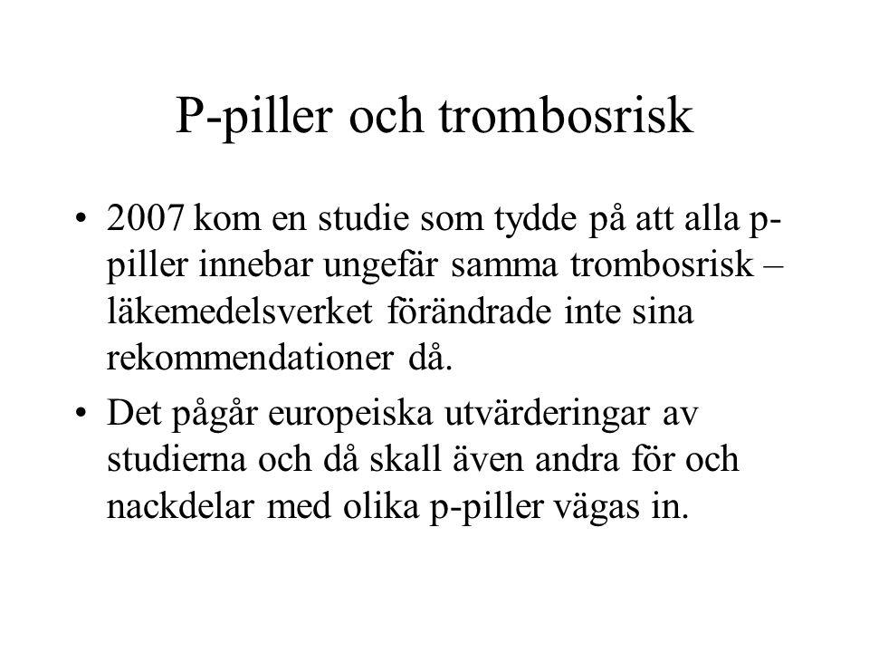 P-piller och trombosrisk 2007 kom en studie som tydde på att alla p- piller innebar ungefär samma trombosrisk – läkemedelsverket förändrade inte sina