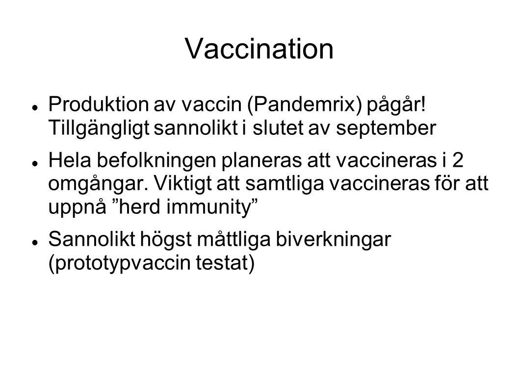 Vaccination Produktion av vaccin (Pandemrix) pågår.