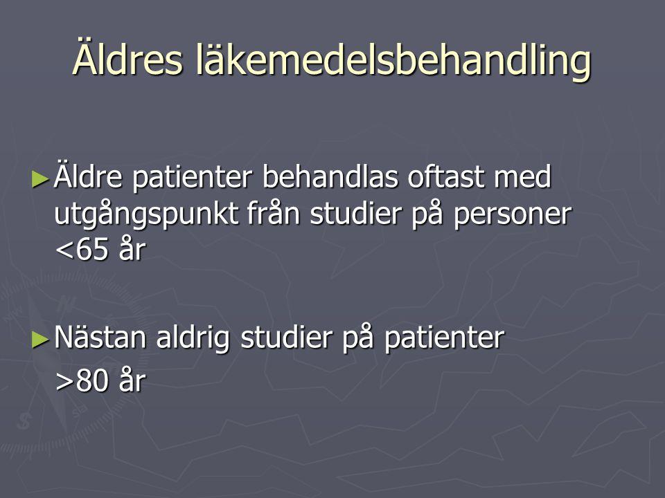 Äldres läkemedelsbehandling ► Äldre patienter behandlas oftast med utgångspunkt från studier på personer <65 år ► Nästan aldrig studier på patienter >