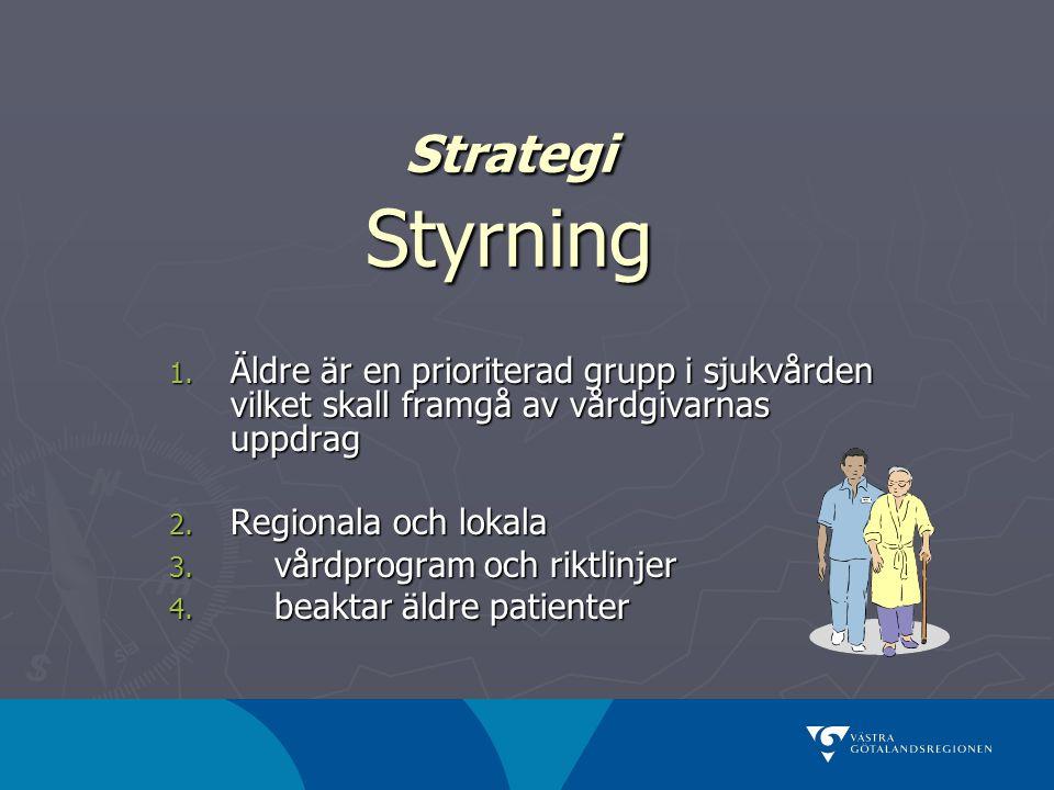 Strategi Styrning 1. Äldre är en prioriterad grupp i sjukvården vilket skall framgå av vårdgivarnas uppdrag 2. Regionala och lokala 3. vårdprogram och