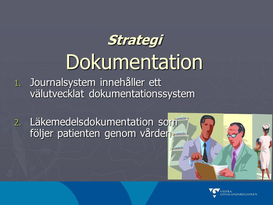 Strategi Dokumentation 1. Journalsystem innehåller ett välutvecklat dokumentationssystem 2. Läkemedelsdokumentation som följer patienten genom vården