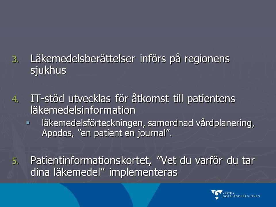 3. Läkemedelsberättelser införs på regionens sjukhus 4. IT-stöd utvecklas för åtkomst till patientens läkemedelsinformation  läkemedelsförteckningen,