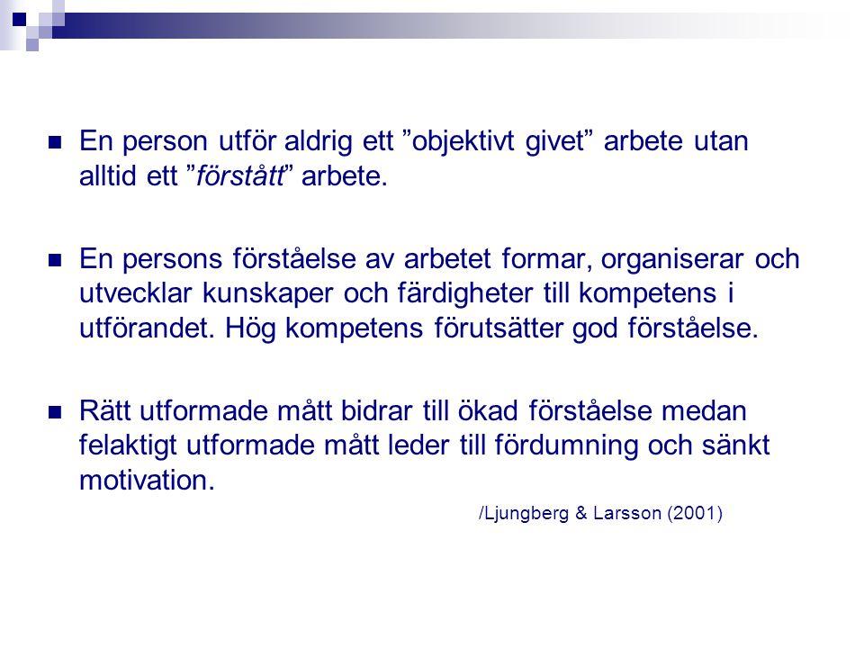 """En person utför aldrig ett """"objektivt givet"""" arbete utan alltid ett """"förstått"""" arbete. En persons förståelse av arbetet formar, organiserar och utveck"""