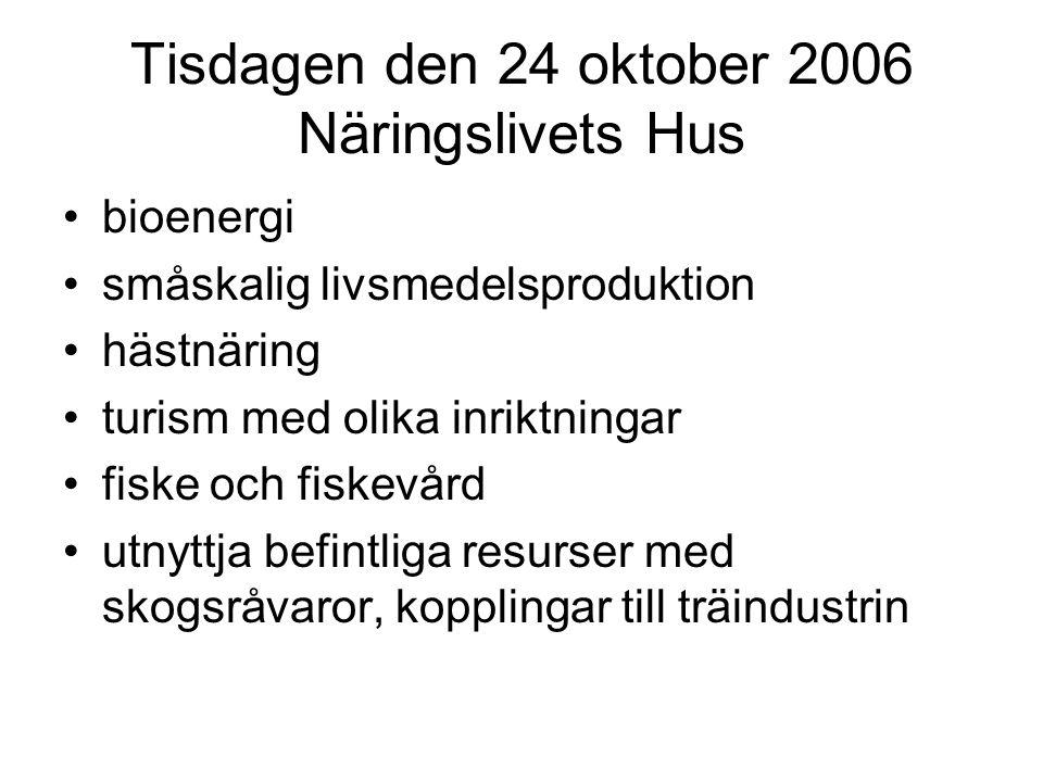 Tisdagen den 24 oktober 2006 Näringslivets Hus bioenergi småskalig livsmedelsproduktion hästnäring turism med olika inriktningar fiske och fiskevård utnyttja befintliga resurser med skogsråvaror, kopplingar till träindustrin