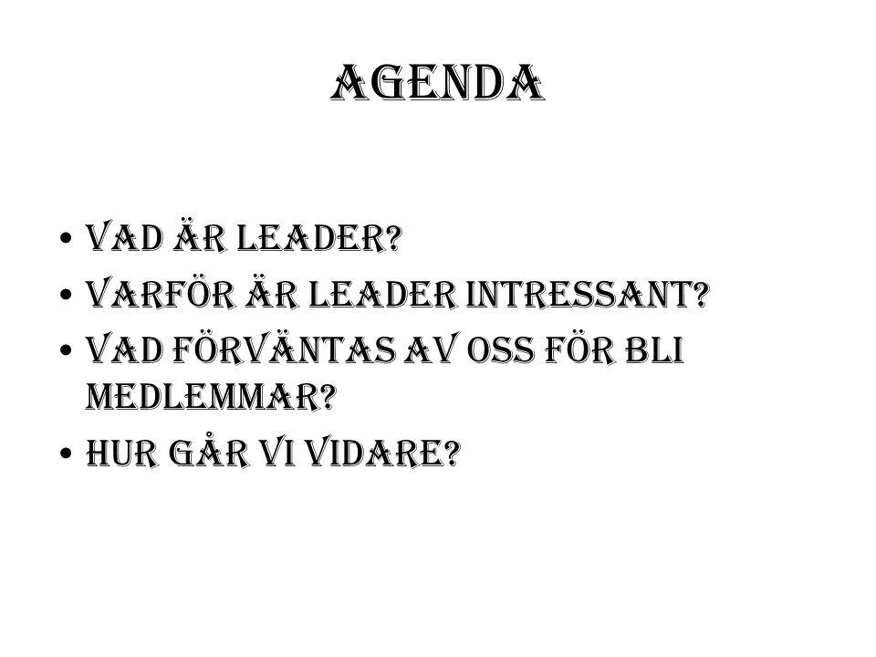 Agenda Vad är Leader. Varför är Leader intressant.