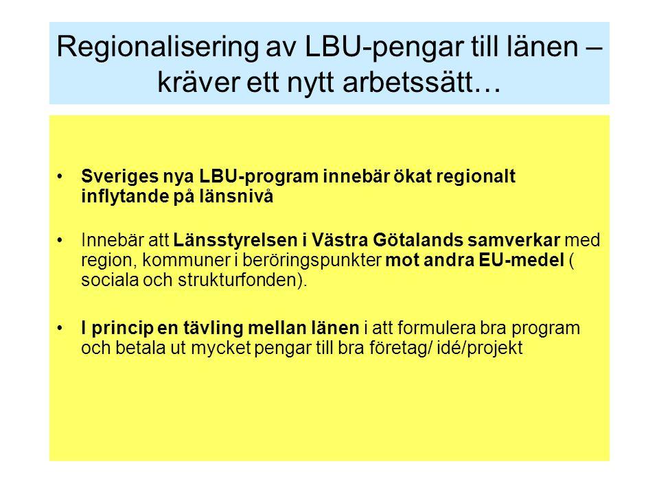 Regionalisering av LBU-pengar till länen – kräver ett nytt arbetssätt… Sveriges nya LBU-program innebär ökat regionalt inflytande på länsnivå Innebär att Länsstyrelsen i Västra Götalands samverkar med region, kommuner i beröringspunkter mot andra EU-medel ( sociala och strukturfonden).