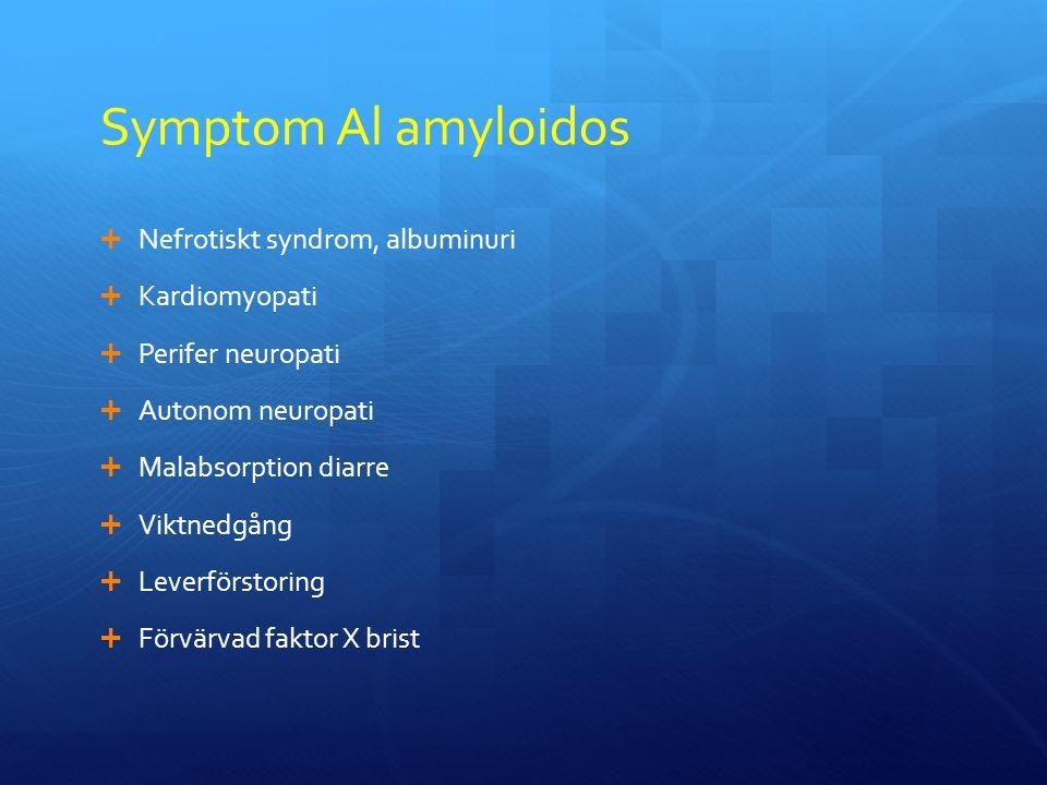 Symptom Al amyloidos  Nefrotiskt syndrom, albuminuri  Kardiomyopati  Perifer neuropati  Autonom neuropati  Malabsorption diarre  Viktnedgång  Leverförstoring  Förvärvad faktor X brist