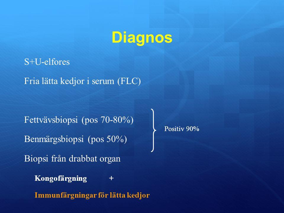 Diagnos S+U-elfores Fria lätta kedjor i serum (FLC) Fettvävsbiopsi (pos 70-80%) Benmärgsbiopsi (pos 50%) Biopsi från drabbat organ Kongofärgning+ Immunfärgningar för lätta kedjor Positiv 90%