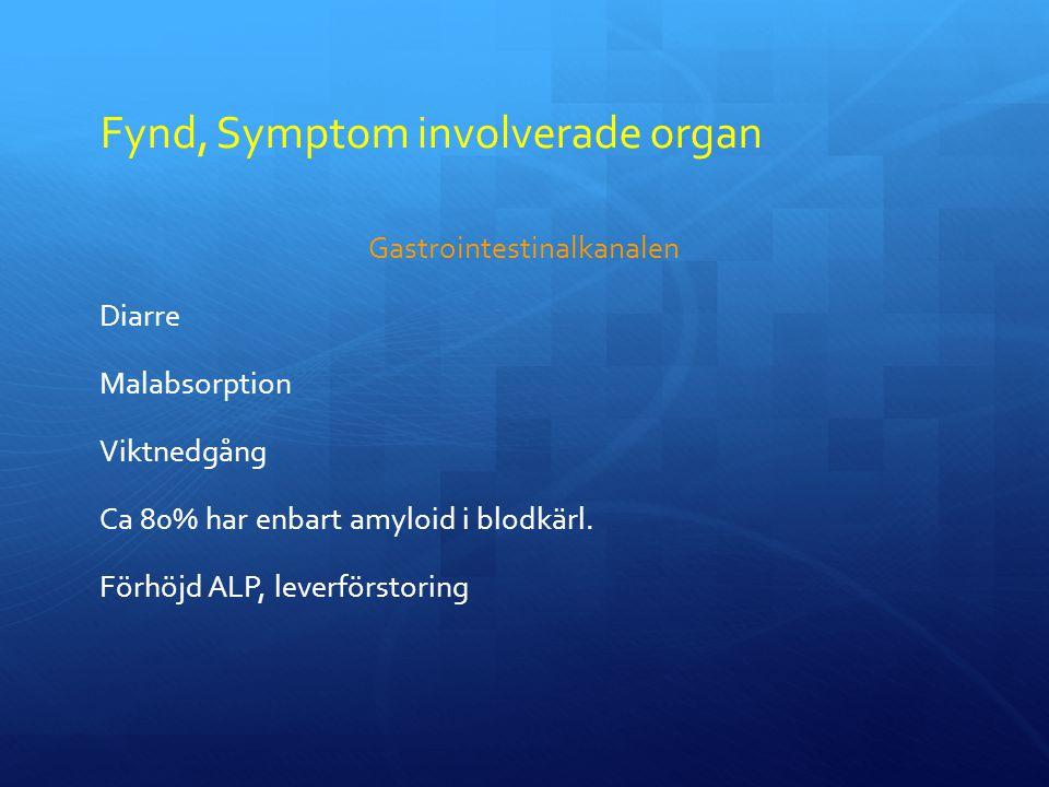 Fynd, Symptom involverade organ Gastrointestinalkanalen Diarre Malabsorption Viktnedgång Ca 80% har enbart amyloid i blodkärl.