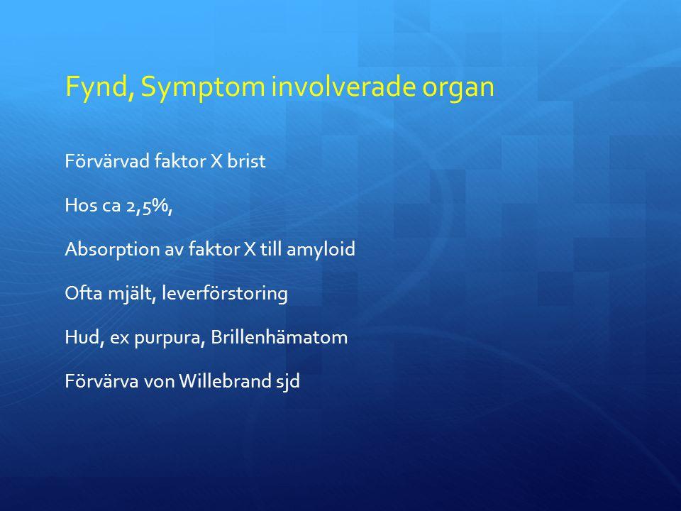 Fynd, Symptom involverade organ Förvärvad faktor X brist Hos ca 2,5%, Absorption av faktor X till amyloid Ofta mjält, leverförstoring Hud, ex purpura, Brillenhämatom Förvärva von Willebrand sjd