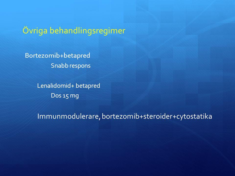 Övriga behandlingsregimer Bortezomib+betapred Snabb respons Lenalidomid+ betapred Dos 15 mg Immunmodulerare, bortezomib+steroider+cytostatika