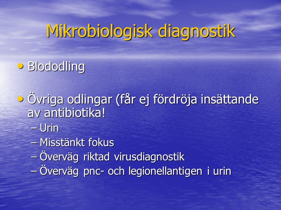 Mikrobiologisk diagnostik Blododling Blododling Övriga odlingar (får ej fördröja insättande av antibiotika.