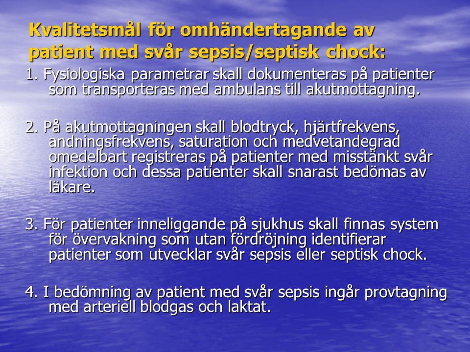 Kvalitetsmål för omhändertagande av patient med svår sepsis/septisk chock: 1.