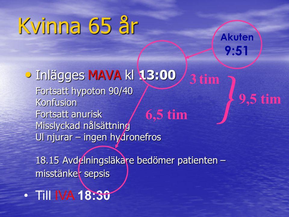 IVA 3 veckor, akutsjukhus 7 veckor Till IVA 18:30 - svår septisk chock Till IVA 18:30 - svår septisk chock respirator, vätska, erytrocytkoncentrat, noradrenalin, dobutamin… Blod- och urinodlingar: E.coli komplikationer: nosokomiala infektioner Blod- och urinodlingar: E.coli komplikationer: nosokomiala infektioner Dag 15 över till Infektions-IVA, extububerad dag 21 Dag 15 över till Infektions-IVA, extububerad dag 21 Dag 48 över till rehabiliteringsavdelning Dag 48 över till rehabiliteringsavdelning Kvinna 65 år