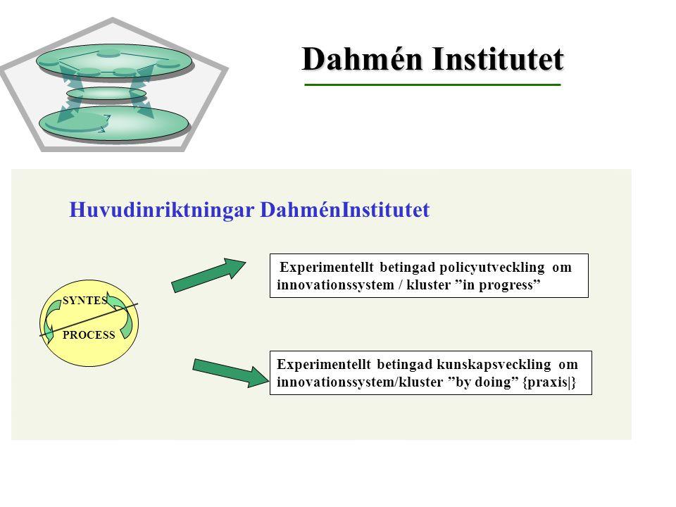 "Huvudinriktningar DahménInstitutet Experimentellt betingad policyutveckling om innovationssystem / kluster ""in progress"" Experimentellt betingad kunsk"