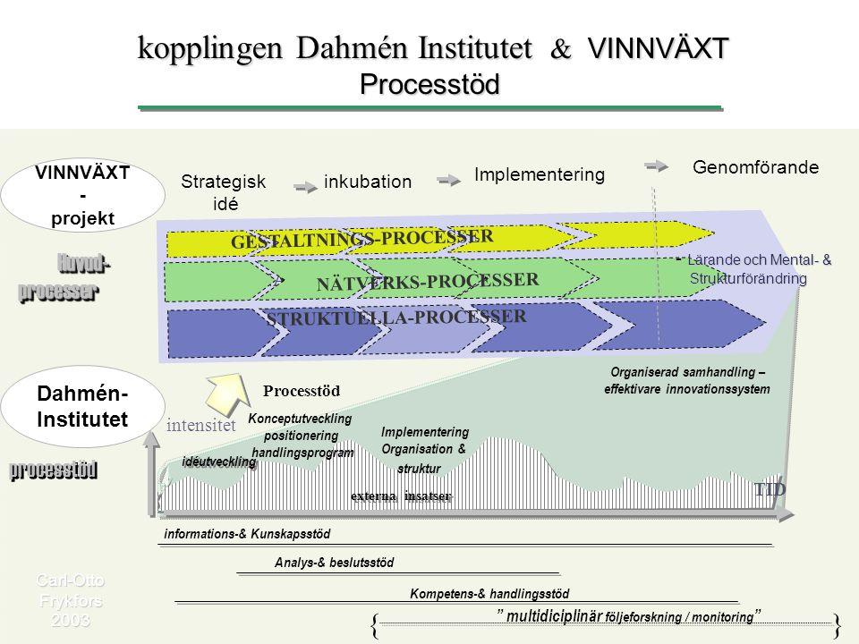 informations-& Kunskapsstöd intensitet Implementering Organisation & struktur Konceptutveckling positionering handlingsprogram Analys-& beslutsstöd Ko