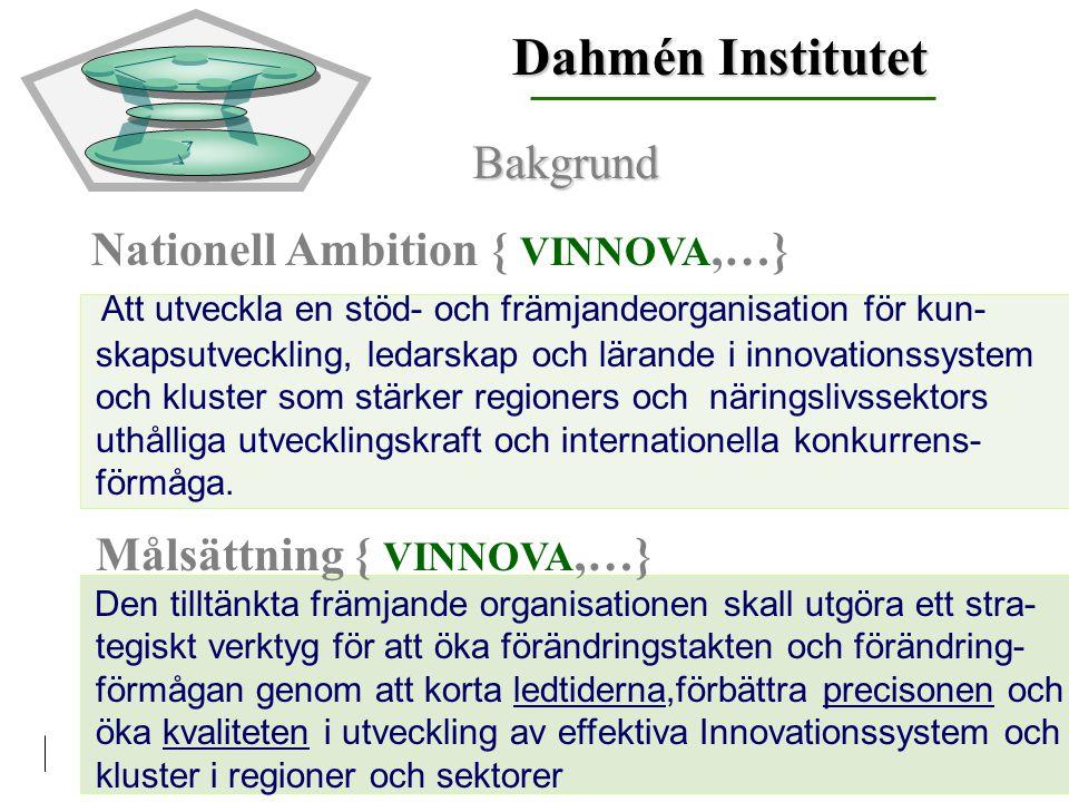 Nationell Ambition { VINNOVA,…} Att utveckla en stöd- och främjandeorganisation för kun- skapsutveckling, ledarskap och lärande i innovationssystem och kluster som stärker regioners och näringslivssektors uthålliga utvecklingskraft och internationella konkurrens- förmåga.