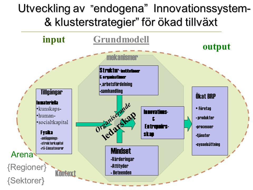 Utveckling av endogena Innovationssystem- & klusterstrategier för ökad tillväxt input output Tillgångar Fysika anläggnings- strukturkapital rå-&insatsvaror Inmateriella kunskaps- human- socialtkapital Ökat BRP Företag produkter processer tjänster sysselsättning Innovations- & Entrepnörs- skap Mindset Värderingar Attityder Beteenden mekanismer Organiserande ledarskap Struktur- institutioner & organisationer, arbetsfördelning samhandling {Regioner} {Sektorer} Grundmodell Arena Kontext