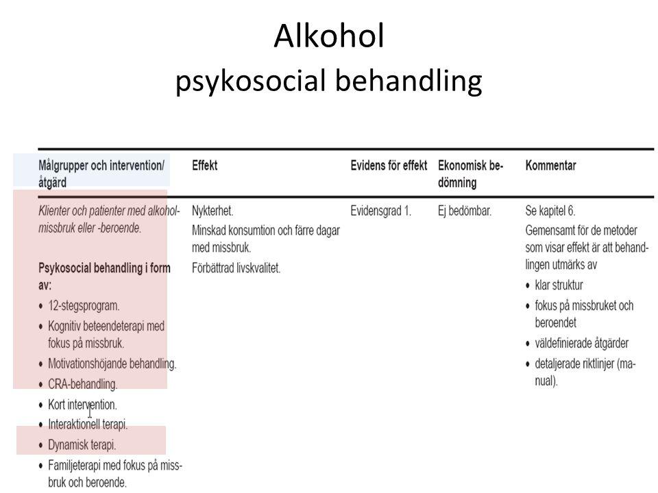 Alkohol psykosocial behandling