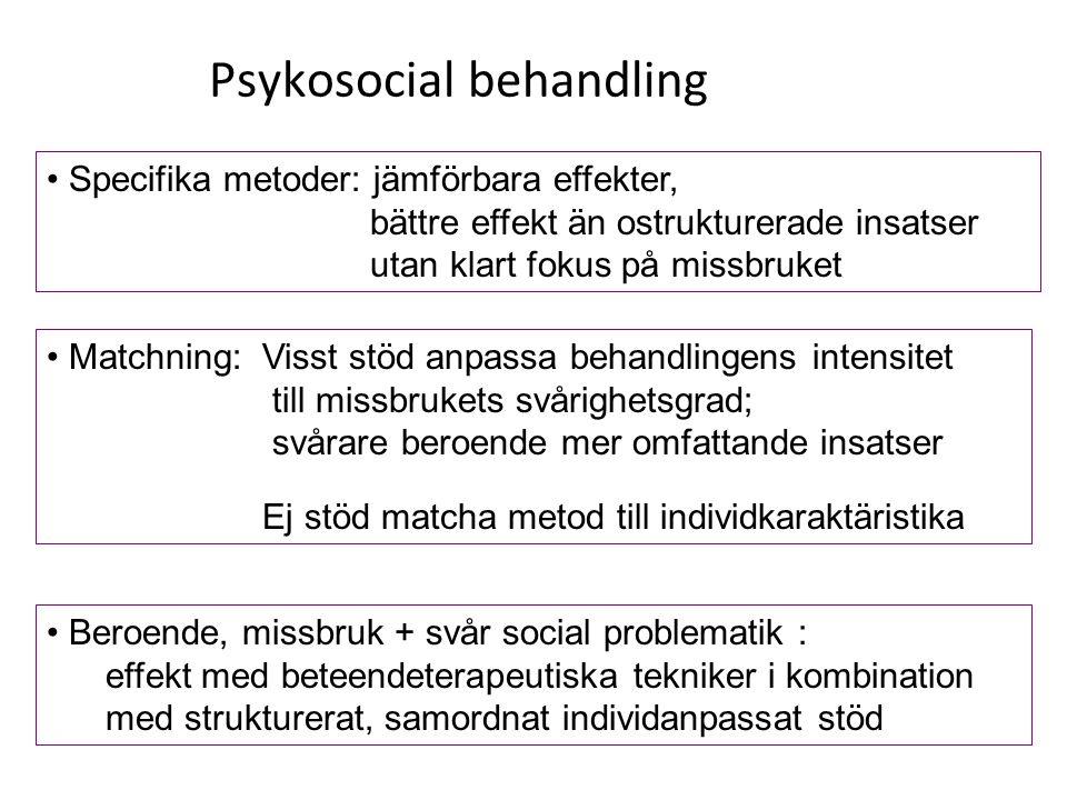 Psykosocial behandling Specifika metoder: jämförbara effekter, bättre effekt än ostrukturerade insatser utan klart fokus på missbruket Matchning: Viss