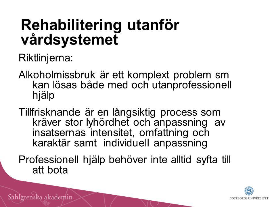 Rehabilitering utanför vårdsystemet Riktlinjerna: Alkoholmissbruk är ett komplext problem sm kan lösas både med och utanprofessionell hjälp Tillfriskn