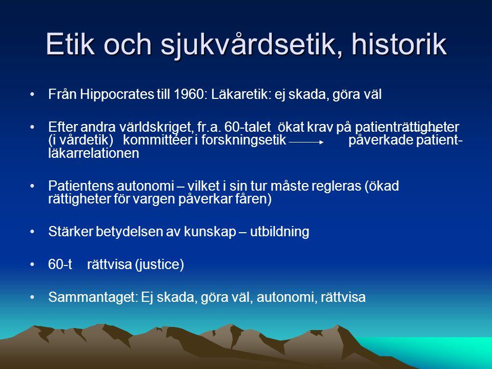 Etik och sjukvårdsetik, historik Från Hippocrates till 1960: Läkaretik: ej skada, göra väl Efter andra världskriget, fr.a. 60-talet ökat krav på patie