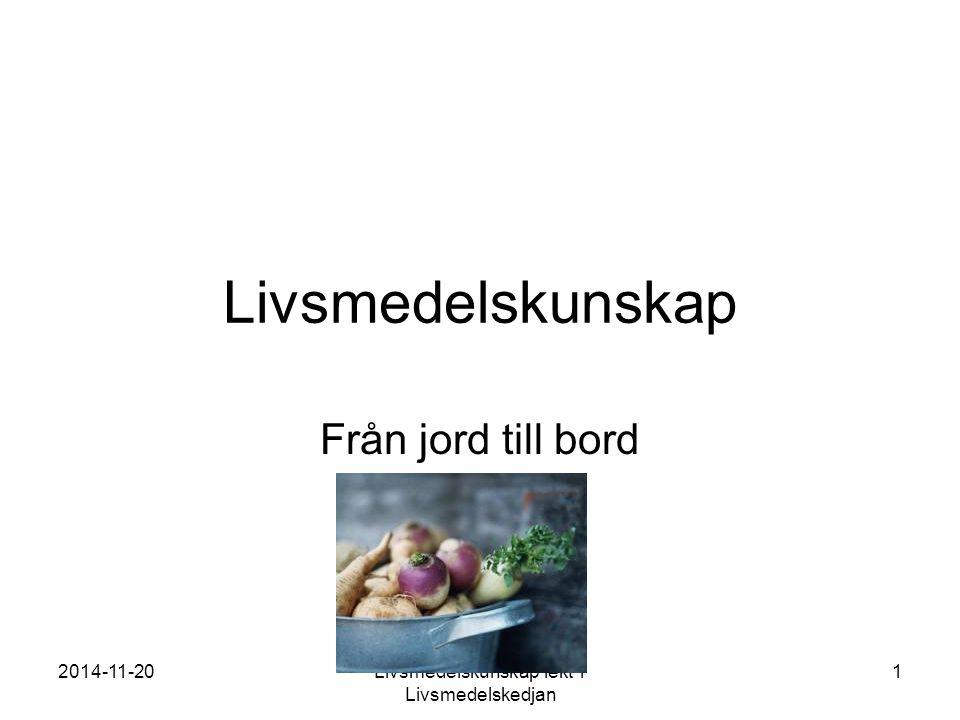 2014-11-20Livsmedelskunskap lekt 1 Livsmedelskedjan 1 Livsmedelskunskap Från jord till bord