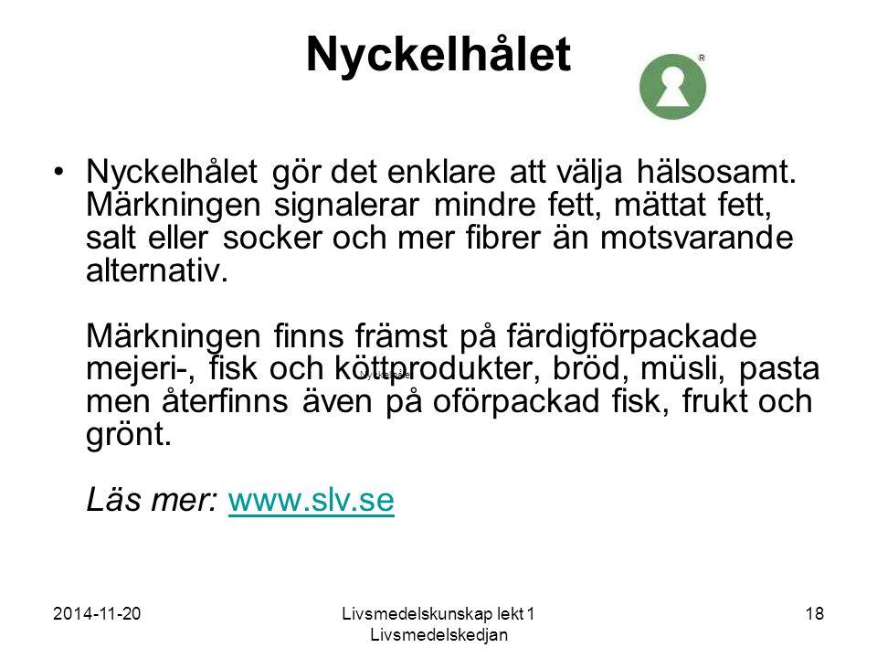 2014-11-20Livsmedelskunskap lekt 1 Livsmedelskedjan 18 Nyckelhålet Nyckelhålet gör det enklare att välja hälsosamt.