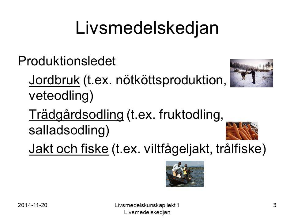 2014-11-20Livsmedelskunskap lekt 1 Livsmedelskedjan 3 Livsmedelskedjan Produktionsledet Jordbruk (t.ex.