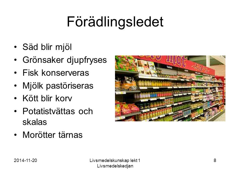 2014-11-20Livsmedelskunskap lekt 1 Livsmedelskedjan 8 Förädlingsledet Säd blir mjöl Grönsaker djupfryses Fisk konserveras Mjölk pastöriseras Kött blir korv Potatistvättas och skalas Morötter tärnas