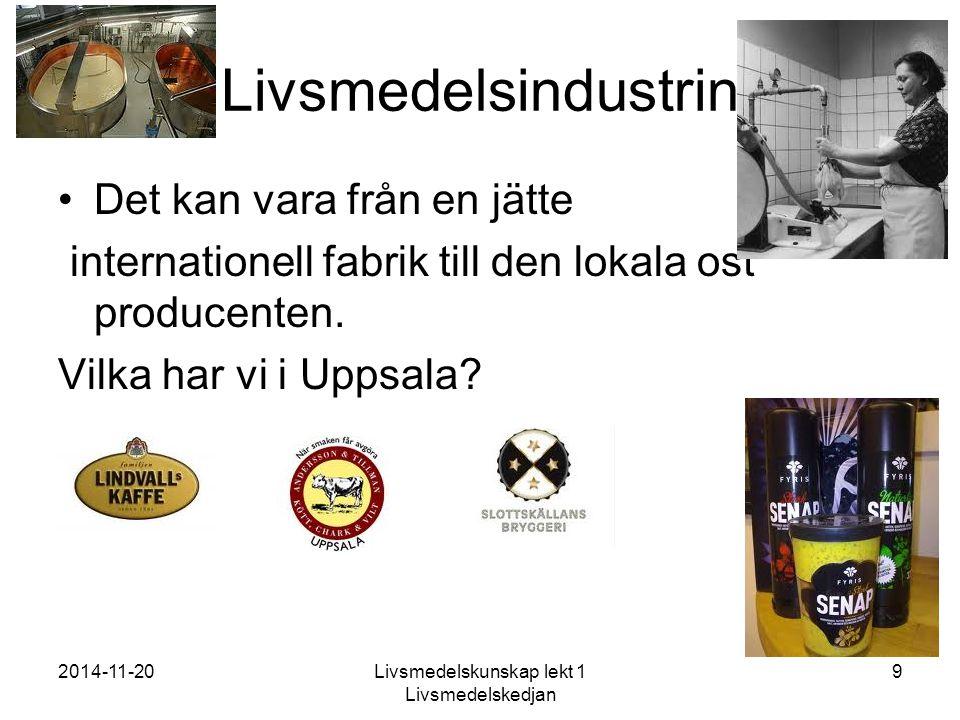 2014-11-20Livsmedelskunskap lekt 1 Livsmedelskedjan 10 Och i Uppland? Bondens mat