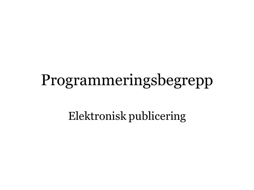 Programmeringsbegrepp Elektronisk publicering