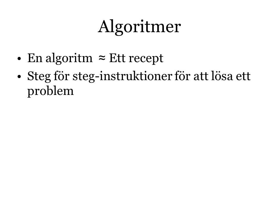 Algoritmer En algoritm ≈ Ett recept Steg för steg-instruktioner för att lösa ett problem