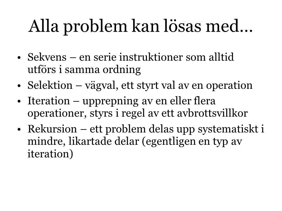 Alla problem kan lösas med… Sekvens – en serie instruktioner som alltid utförs i samma ordning Selektion – vägval, ett styrt val av en operation Iteration – upprepning av en eller flera operationer, styrs i regel av ett avbrottsvillkor Rekursion – ett problem delas upp systematiskt i mindre, likartade delar (egentligen en typ av iteration)
