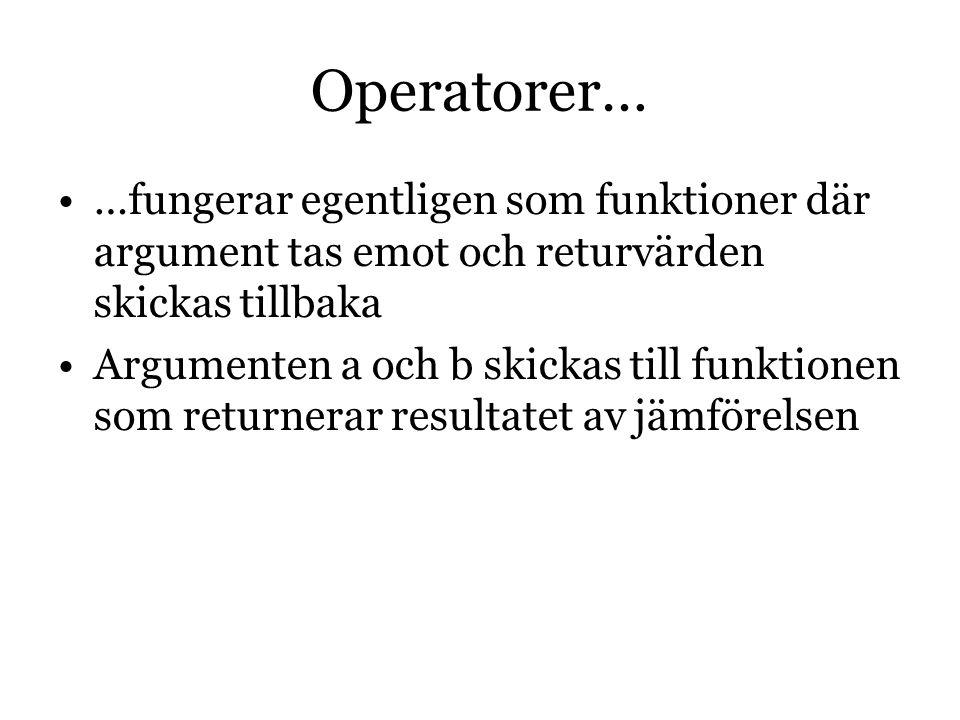 Operatorer… …fungerar egentligen som funktioner där argument tas emot och returvärden skickas tillbaka Argumenten a och b skickas till funktionen som returnerar resultatet av jämförelsen