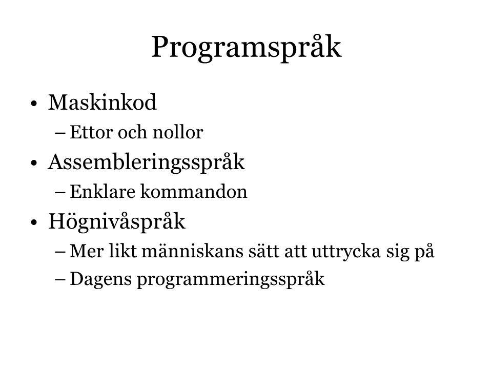 Programspråk Maskinkod –Ettor och nollor Assembleringsspråk –Enklare kommandon Högnivåspråk –Mer likt människans sätt att uttrycka sig på –Dagens programmeringsspråk
