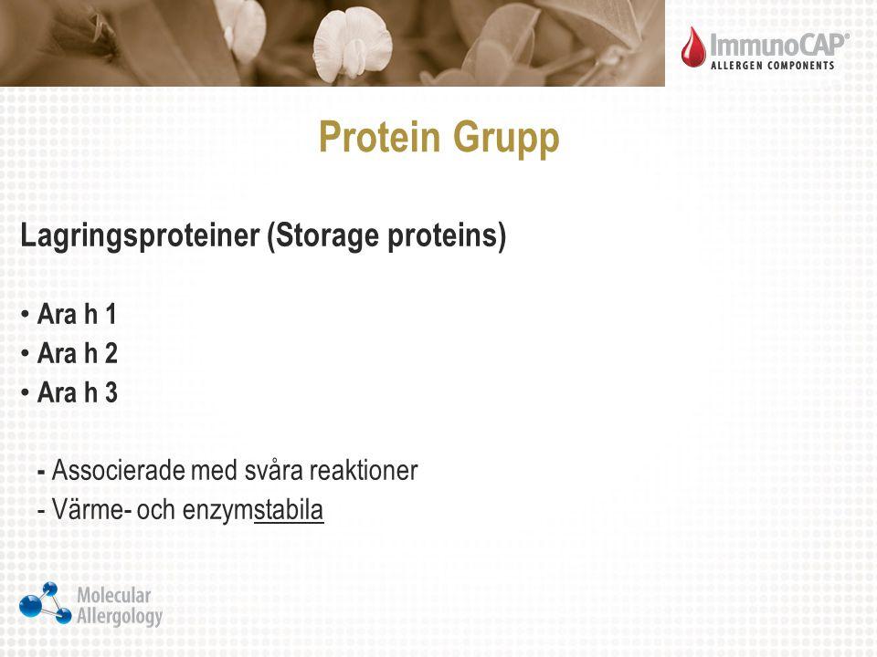 Protein Grupp Lagringsproteiner (Storage proteins) Ara h 1 Ara h 2 Ara h 3 - Associerade med svåra reaktioner - Värme- och enzymstabila