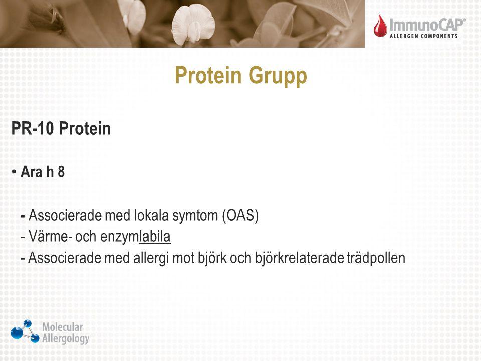 Protein Grupp PR-10 Protein Ara h 8 - Associerade med lokala symtom (OAS) - Värme- och enzymlabila - Associerade med allergi mot björk och björkrelate