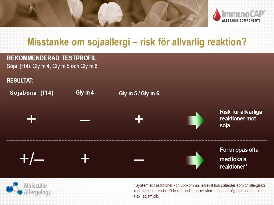 REKOMMENDERAD TESTPROFIL Soja (f14), Gly m 4, Gly m 5 och Gly m 6 RESULTAT: Sojaböna (f14) Gly m 4 Gly m 5 / Gly m 6 +–+ Risk för allvarliga reaktione