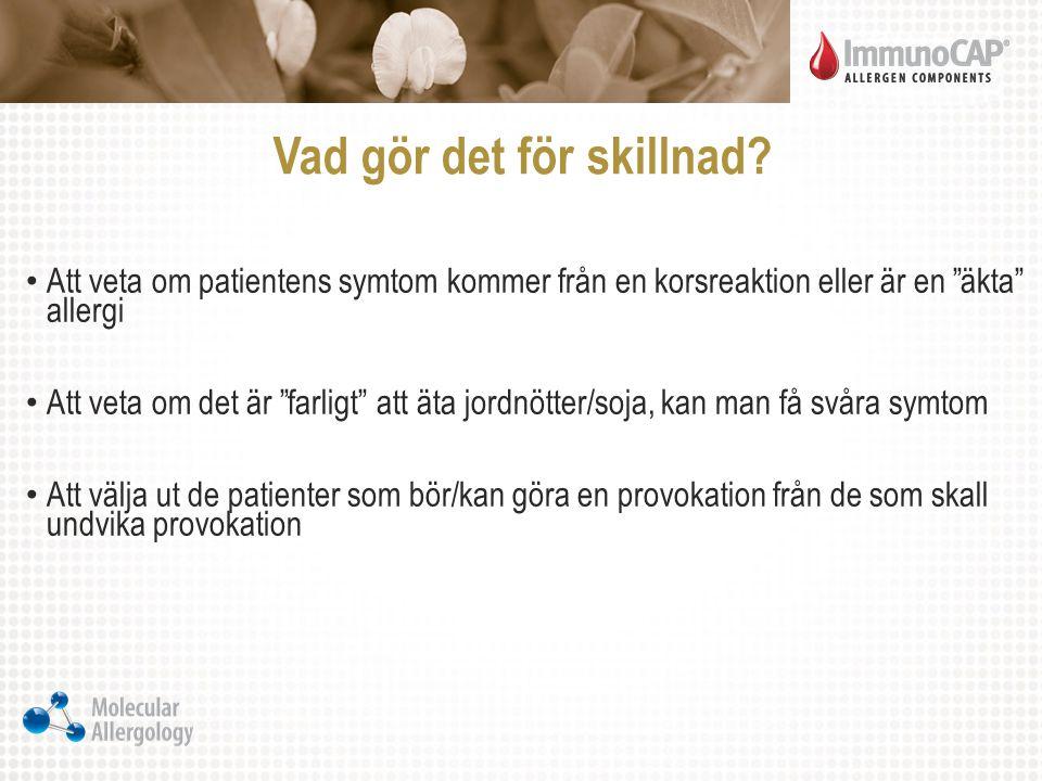 """Vad gör det för skillnad? Att veta om patientens symtom kommer från en korsreaktion eller är en """"äkta"""" allergi Att veta om det är """"farligt"""" att äta jo"""
