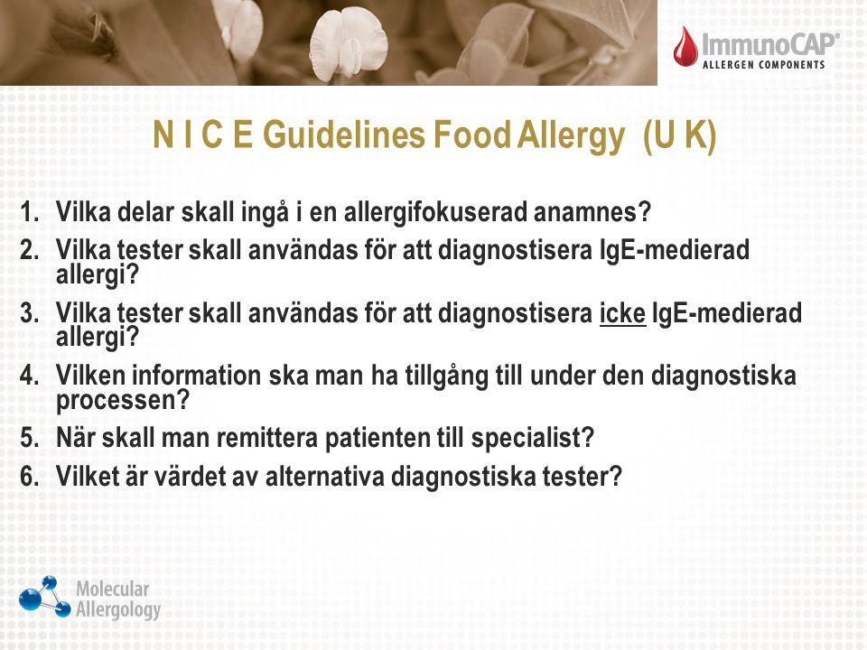 N I C E Guidelines Food Allergy (U K) 1.Vilka delar skall ingå i en allergifokuserad anamnes? 2.Vilka tester skall användas för att diagnostisera IgE-