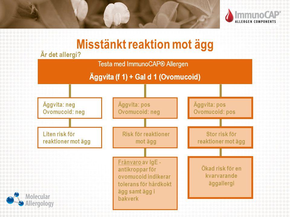 Misstänkt reaktion mot ägg Äggvita: neg Ovomucoid: neg Liten risk för reaktioner mot ägg Äggvita: pos Ovomucoid: neg Risk för reaktioner mot ägg Äggvi