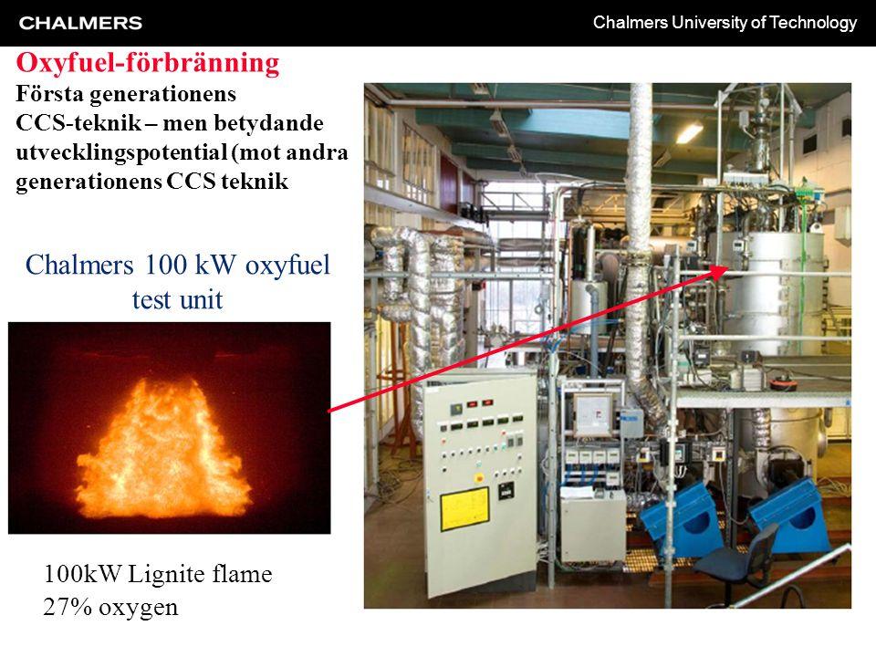 Chalmers University of Technology Chalmers 100 kW oxyfuel test unit 100kW Lignite flame 27% oxygen Oxyfuel-förbränning Första generationens CCS-teknik – men betydande utvecklingspotential (mot andra generationens CCS teknik